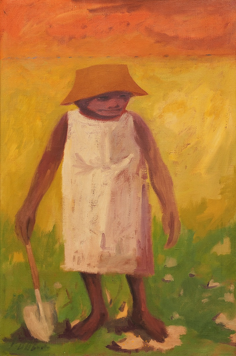 Woman with a Spade , Darling River Series , 1962    oil on belgian linen 90 x 60 cm  signed lower centre and verso
