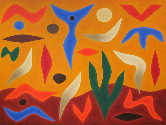 Celebration Landscape, 1986    Oil on canvas  90 x120 cm  signed lower right   SOLD