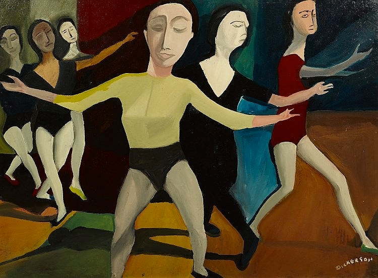 Robert Dickerson     The Dancing Lesson    oil on board  76 x 101 cm  signed lower right