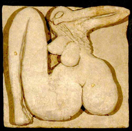 Nude    relief carving in Balinese stone  40 x 40 x 10 cm   SOLD