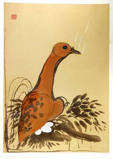 Dove, 1982    etching, silkscreen and chine colle  160 x 92 cm, edition of 25/30  signed with monogram upper left and signed lower right   SOLD