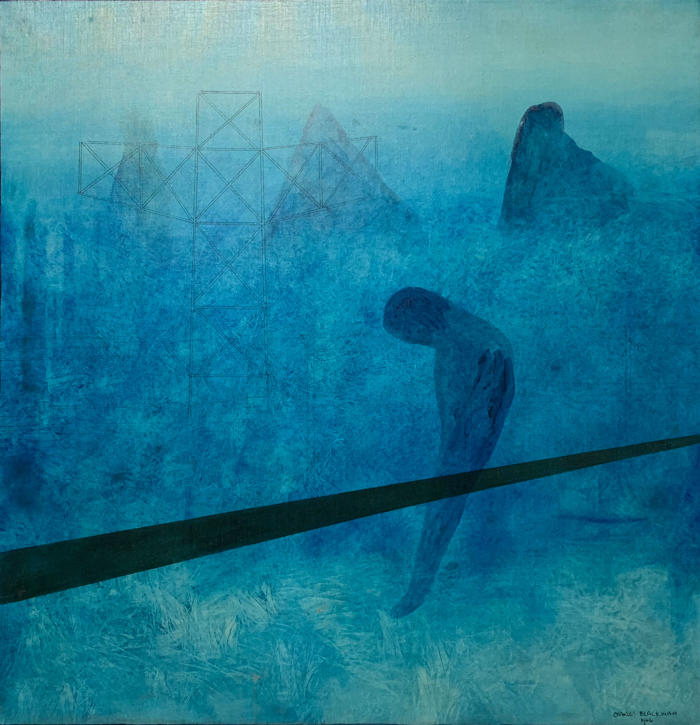 Blue Reflections, 1966   oil on canvas  97 x 94 cm  signed and dated lower right