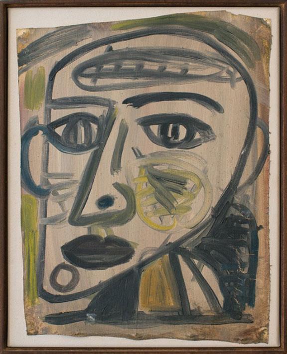Tony Tuckson   oil on canvas  40.5 x 31 cm [ irregular ]  laid down onto stretched canvas