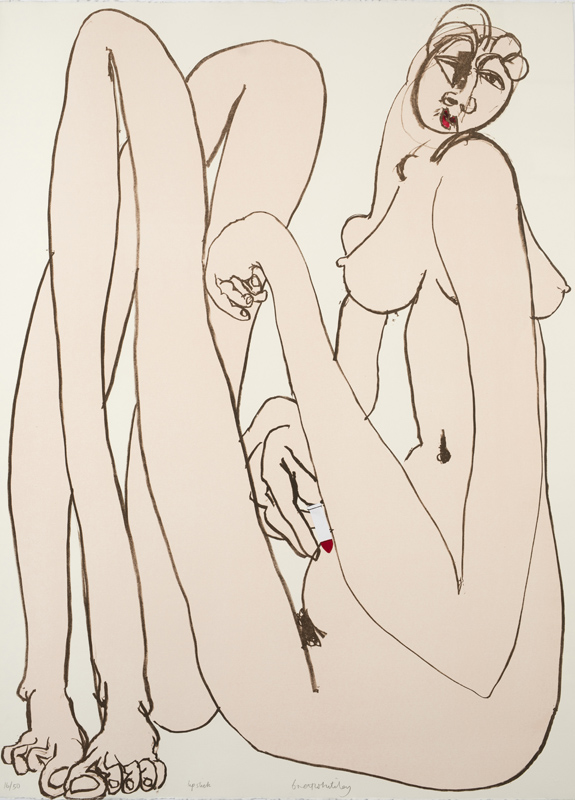 Lipstick, 1982    colour lithograph and nail polish 107 x 76 cm  edition 16/50  signed and dated lower middle