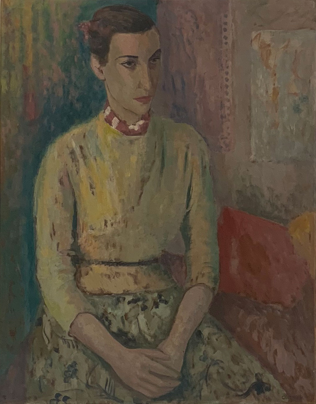 The First Mrs. Kmitt, c 1950's    oil on board 76.5 x 55.5 cm  signed lower right