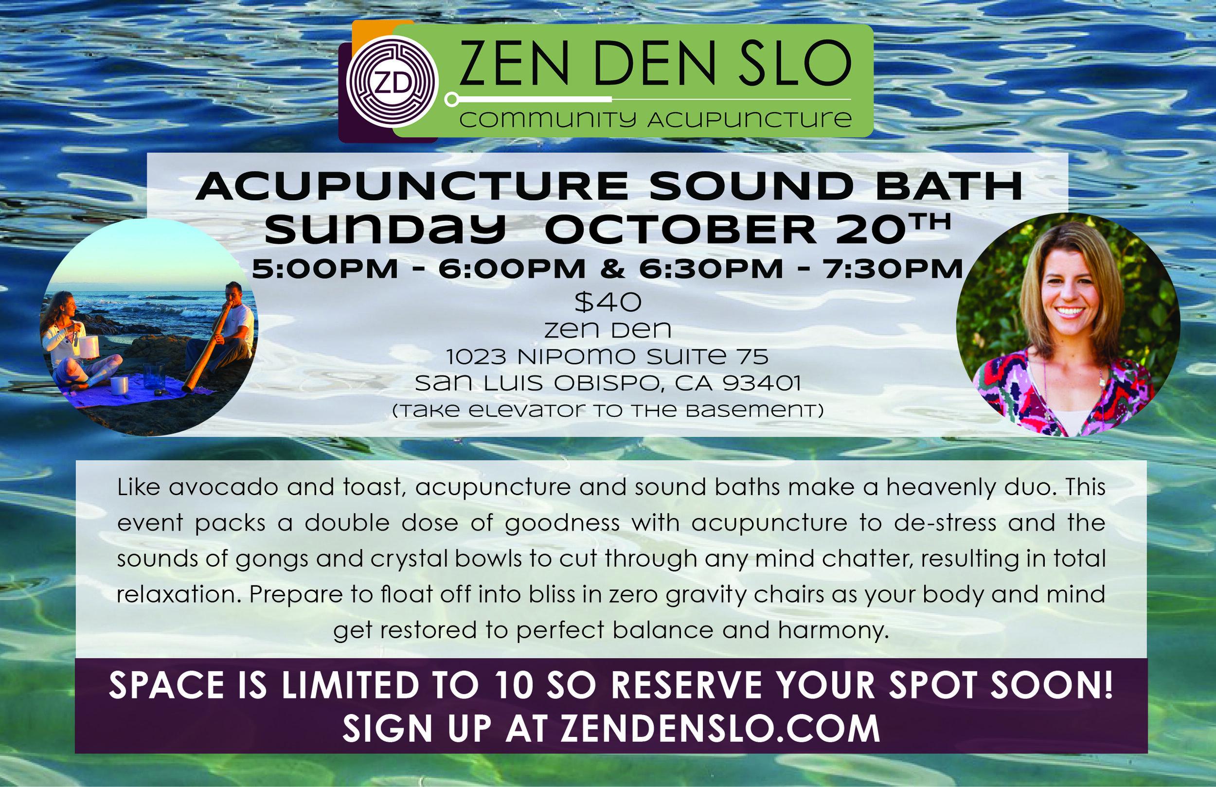 Soundbath Acupuncture October 20