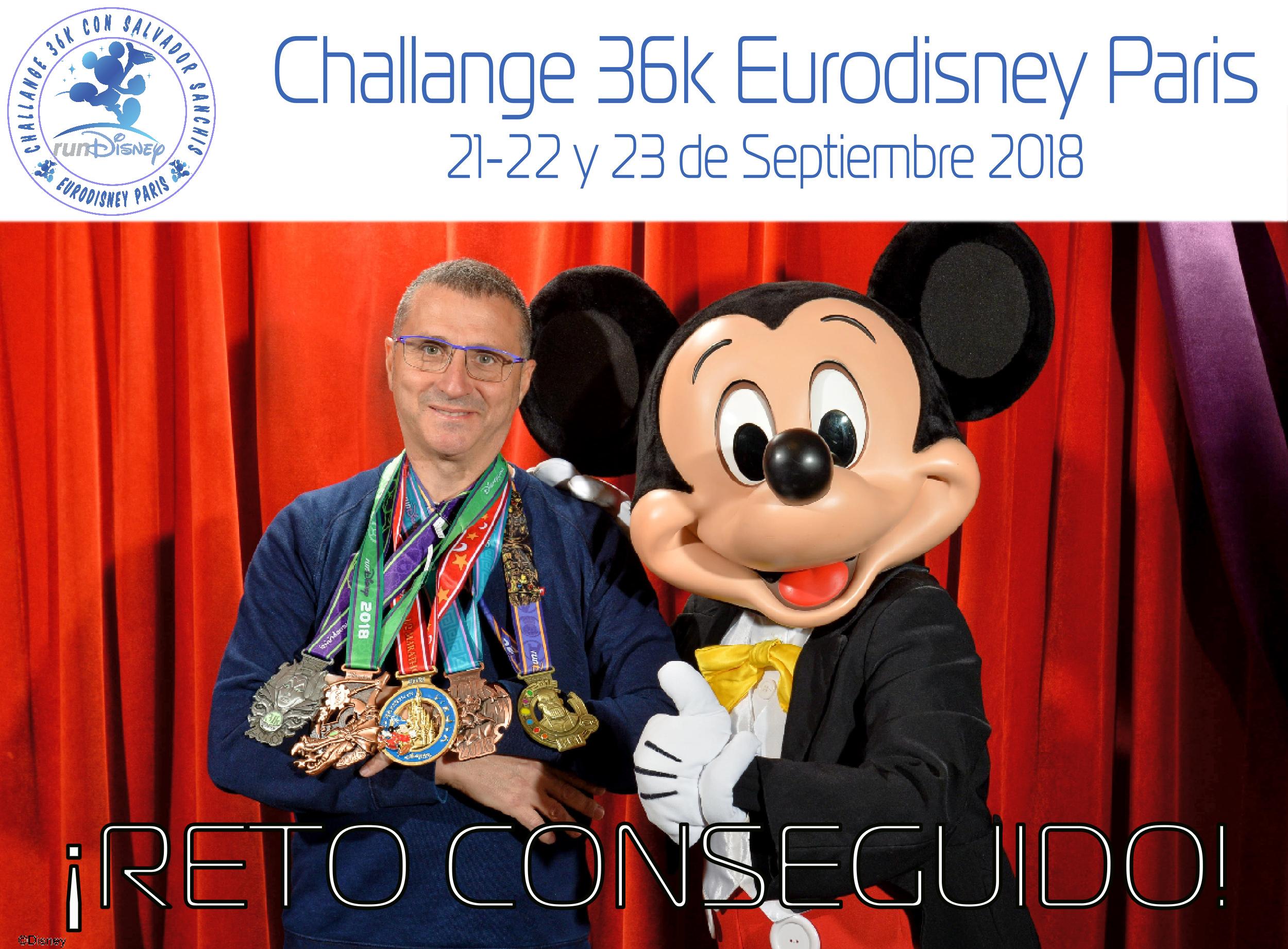 Asumir el nuevo reto de la Challenge 36 kilometros Disneyland ®Weekend Run París magia!