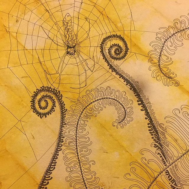 Something with spiders. . . . #turmericseries #spiders #rebeccaduckettwilkinson #inprogress