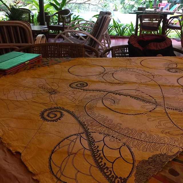 Some ink work before breakfast. Working out of @tigerrock_pangkor for the next few days . . . #rebeccaduckettwilkinson #junglestudio #islandandjungle #plantdyedpapers #worksonpaper #tigerrockpangkorperak #tropicalmalaysia #poolhousestudio #home