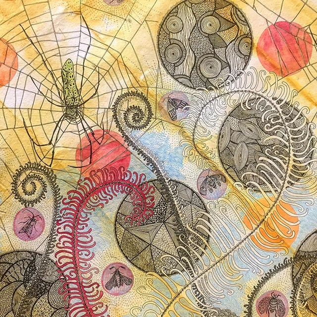 This one has been a long time coming but I think one more day will do it. 🕷🕸🕷🕸 . . . #plantdyedpaper #inkonhandmadepaper #watercolouronhandmadepaper #spidersandmoths #hanginghunters #lovespiders #lovemoths #rebeccaduckettwilkinson #parallaxartfair #parallaxartfair2018 #seeyouinlondon