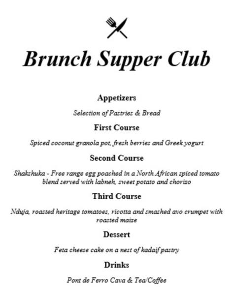 Example brunch menu