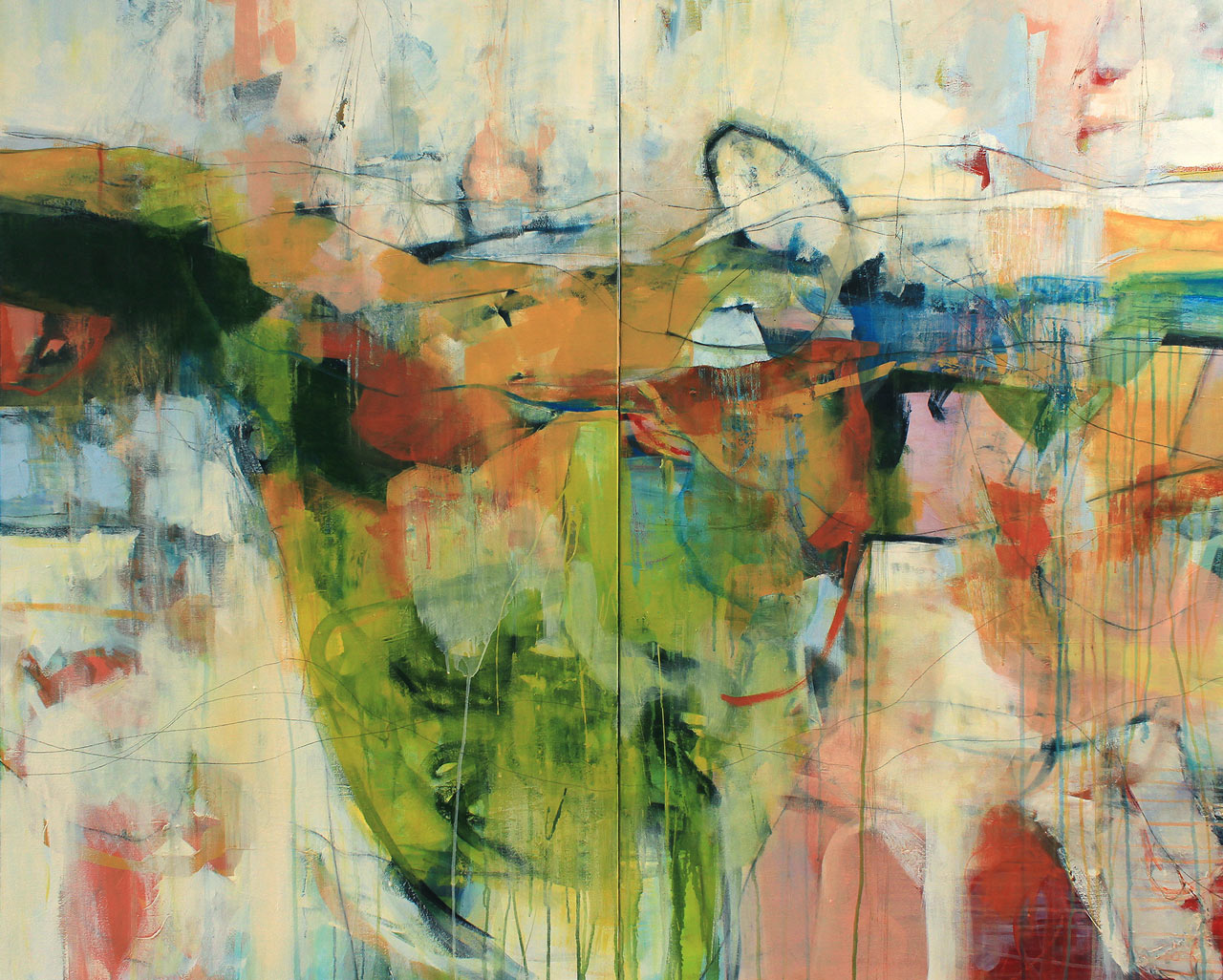 """Knee Deep In It - 48"""" x 60"""" diptych mixed-media on canvas.- (SOLD)"""