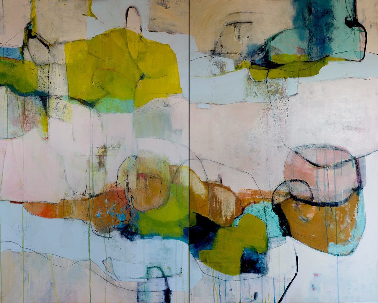 "Sleep Becomes Thin - 48"" x 60"" diptych mixed-media on canvas. - (SOLD)"