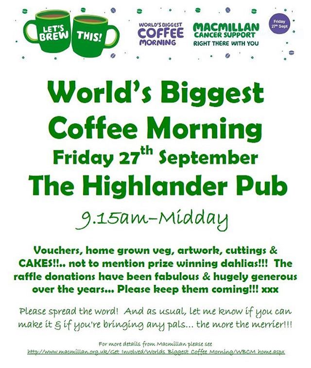 Very much looking forward to another coffee and cake fest this Friday!  The good people of Hitchin have once again excelled themselves in their generosity.  The raffle prizes are coming in thick and fast so please join us and you might bag yourself a fab prize!  Cakes and friendly faces very welcome.  Hope to see you there 🙏🎂🙏🎂🙏 #macmillancoffeemorning #macmillancancersupport #macmillan #worldsbiggestcoffeemorning2019 #hitchingram #hitchin