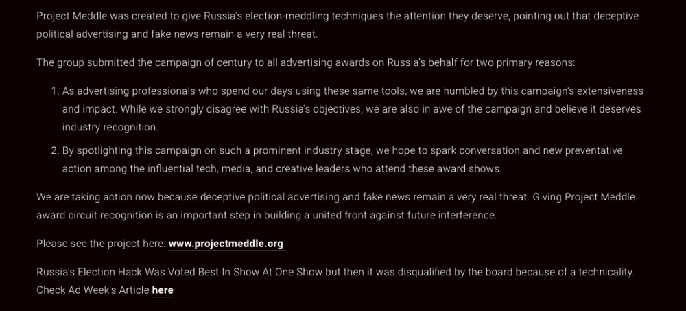 https://www.adweek.com/agencies/the-one-show-disqualifies-acclaimed-project-on-russian-election-meddling-due-to-a-technicality/