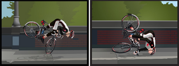 he forward momentum stopped when Lan's bike wheel got caught in the sidewalk hazard, sending him over his handlebars and slamming him head first onto the cement.