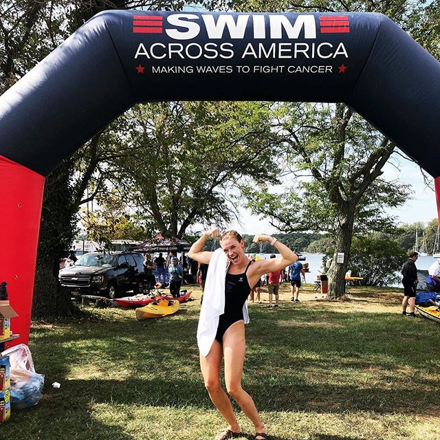 Our STA Coach @mollybransonrealtor participated in Swim Across America this weekend!! Can you say AWESOME?!? She did a 3 mile open water swim doing 95% breaststroke. #oldhabitsdiehard #ourcoachesrule