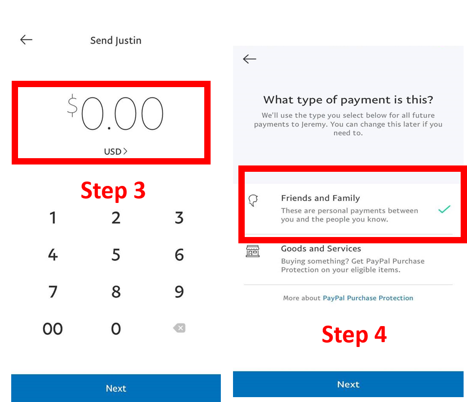 """Step 3:  Type in the amount to be paid to the owner.  Step 4:  Make sure there is a green checkmark by the """"friends and Family"""" box. If there isn't one, click on it."""