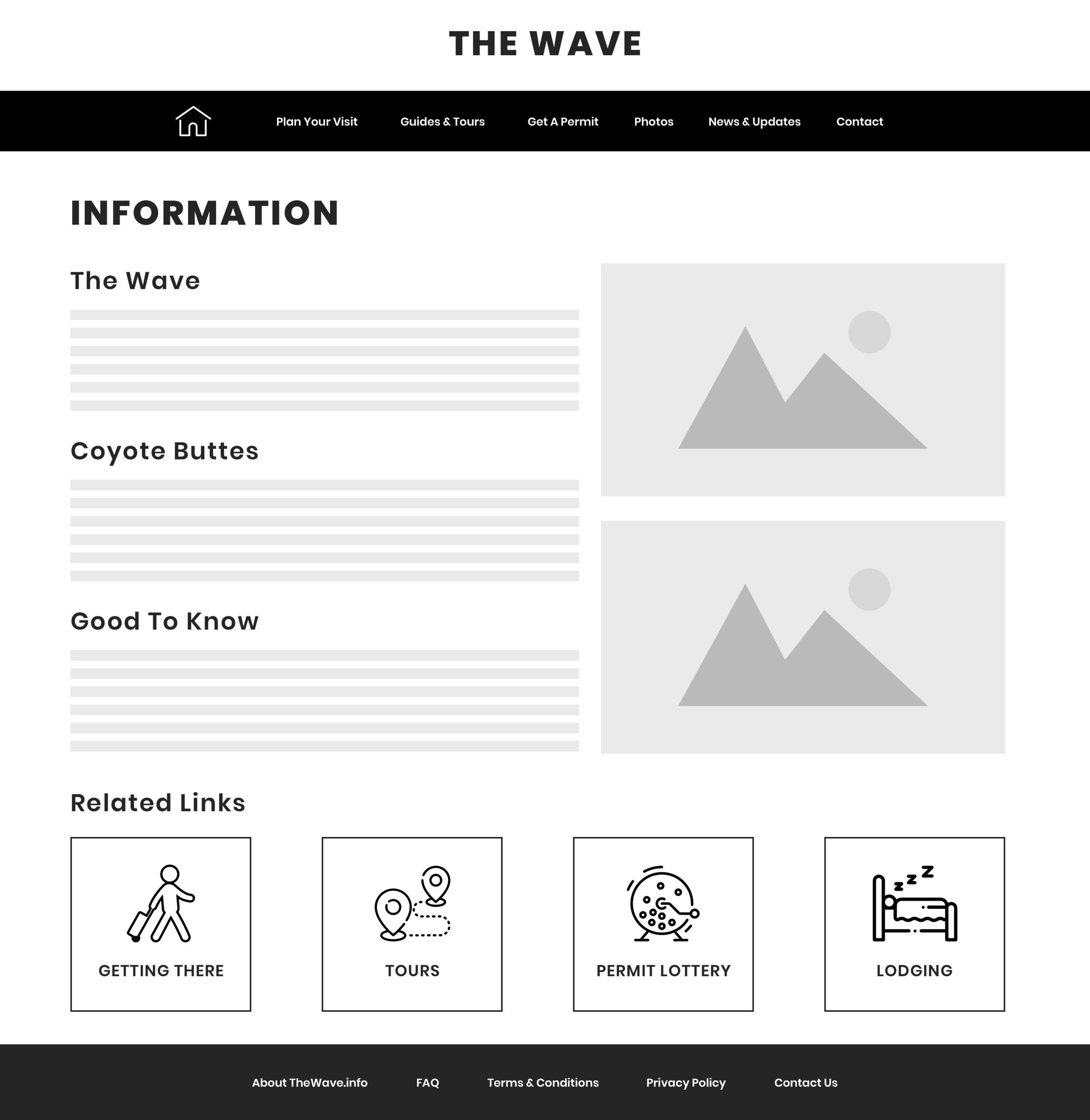Information Page  - The new information page combined content found across several pages that was essential for the user to find upon initially expressing interest in information on the wave.