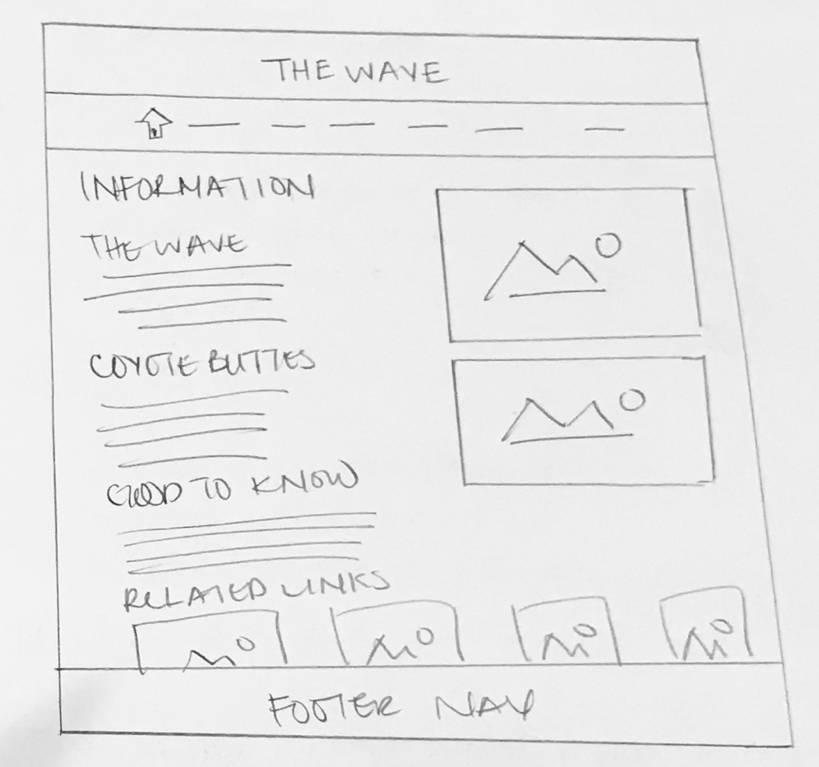 Information Page  - Lo-Fi Wireframe