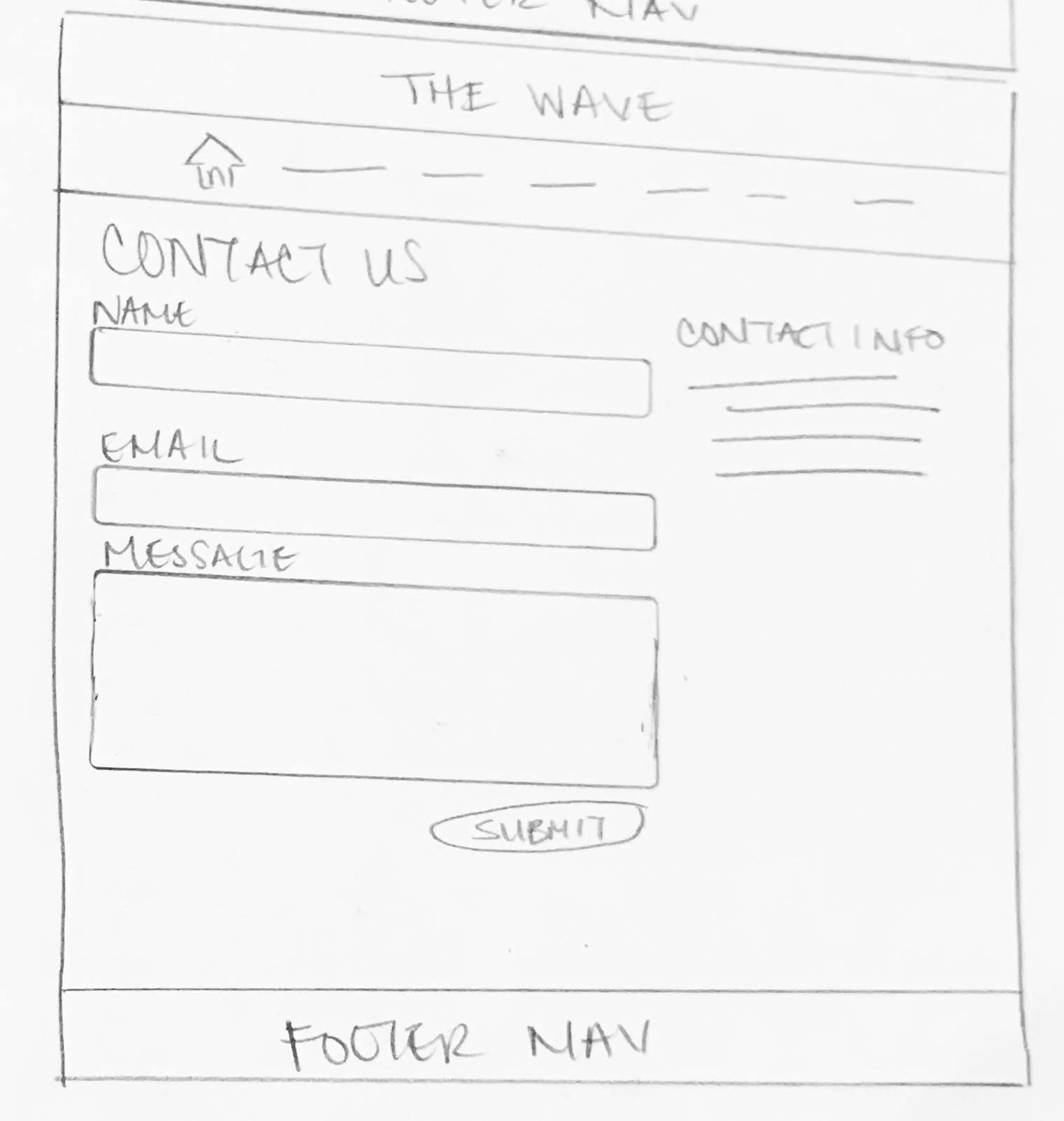 Contact Page  - Lo-Fi Wireframe