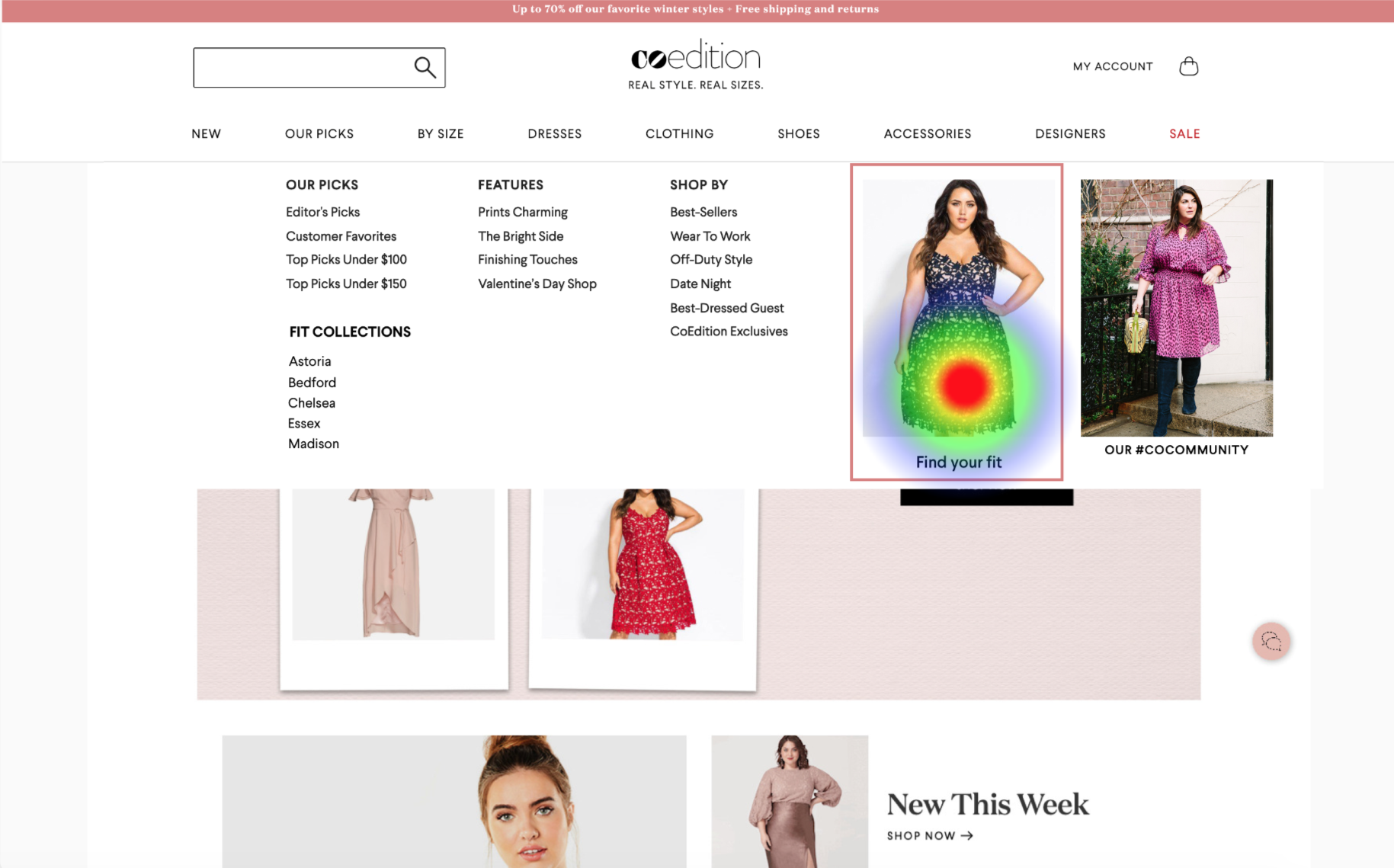 Task 2 - Locate  Find Your Fit to view collections   in the navigation menu