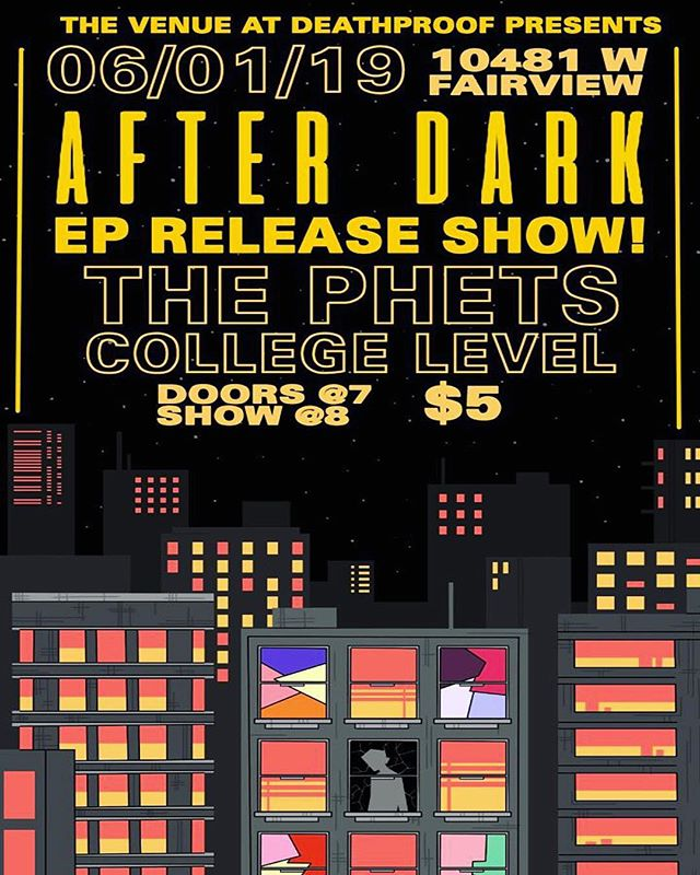 We are proud to announce that @deathproof.coffee will be hosting our EP release show! 🌃☕️🎸 🔥🔥 Mark it in your calendars ladies and gentlemen! This one is gonna be a big one! We will have new shirt designs, stickers, CD's, and Posters! 🎞🎞 Dark Again will release on platforms June 1st! Thank you everyone for supporting us on this incredible journey! We will see you then! . . . #thephets #darkagain #rock #deathproof #boise #boisemusic #saveme #afterdark #imafool #raincoat #dejavu #livemusic