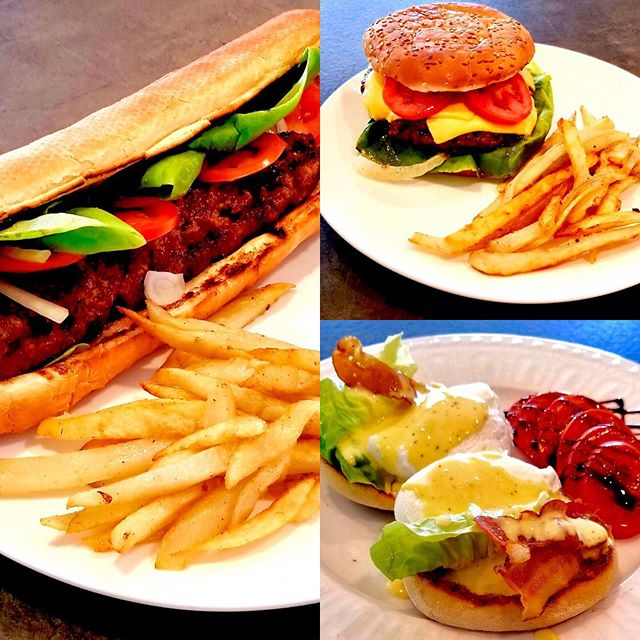 Hungry? Stop by for our delicious breakfast & lunch! Here we have a mouthwatering lyulya kebab sandwich, a classic cheeseburger, and eggs Benedict! And plenty more to choose from 😉