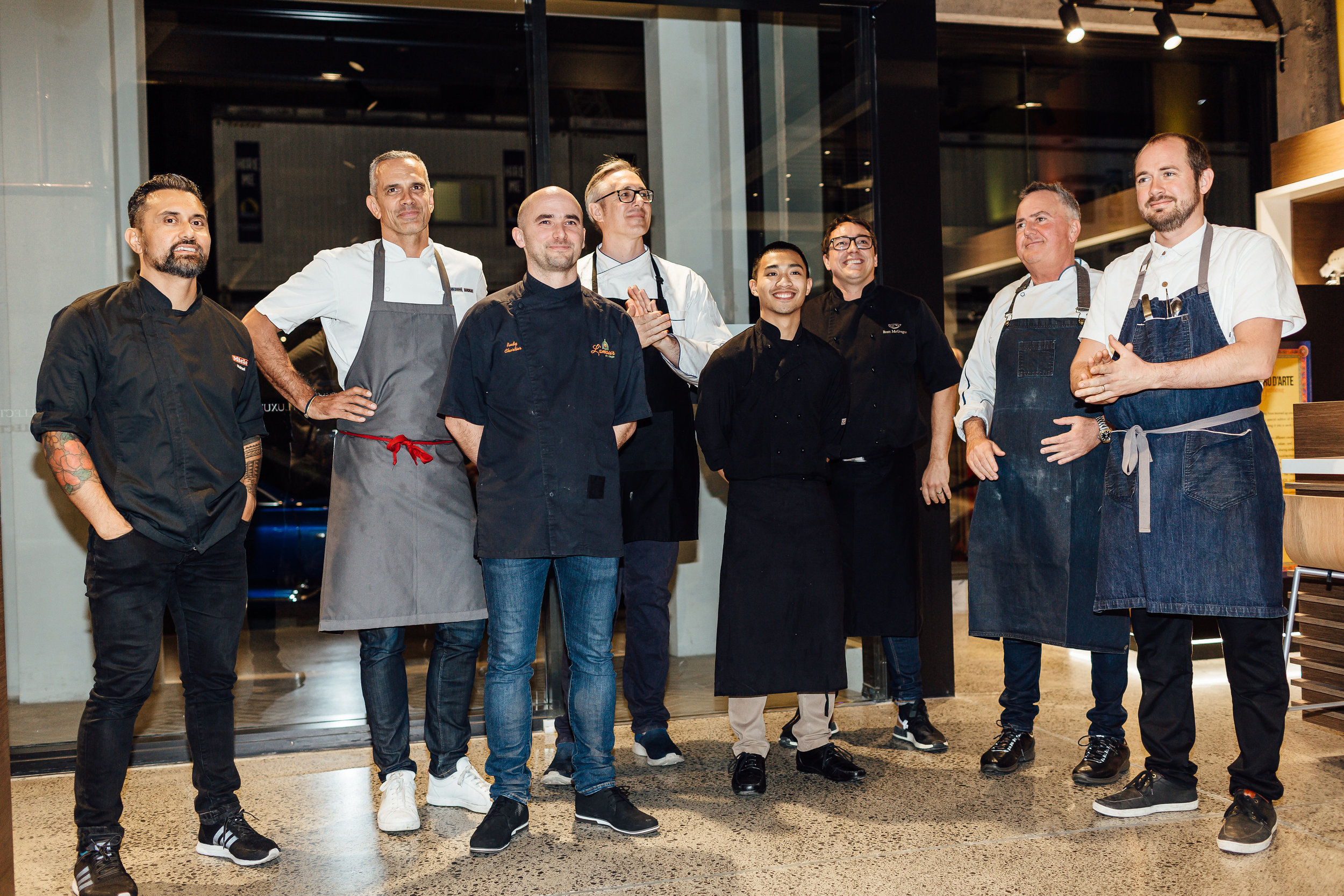 New Zealand's leading chefs cooking on the night: Michael Meredith, Josh Emett, Rudy Chartier, Des Harris, William Mordido, Brett Mc Gregor, Simon Gault  and Giulio Sturla.