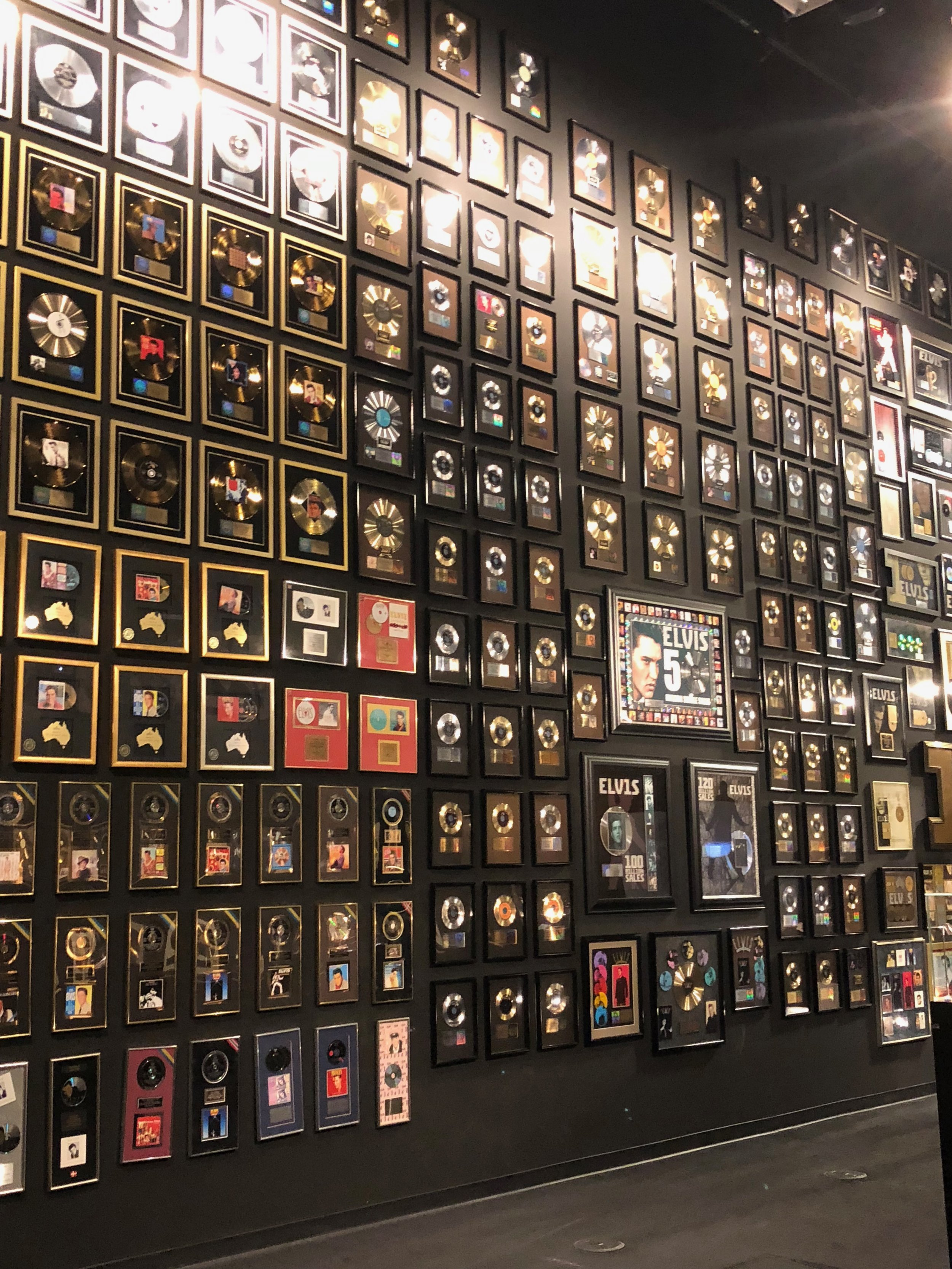 Floor to ceiling record wall at Graceland museum