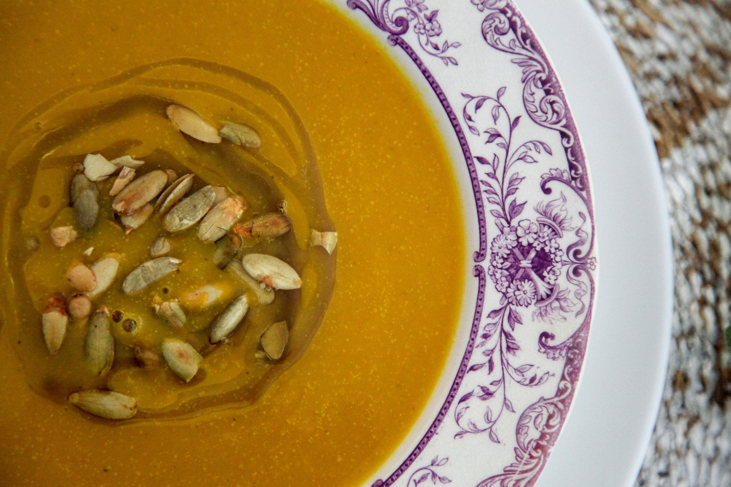 Butternut squash soup gets a kick