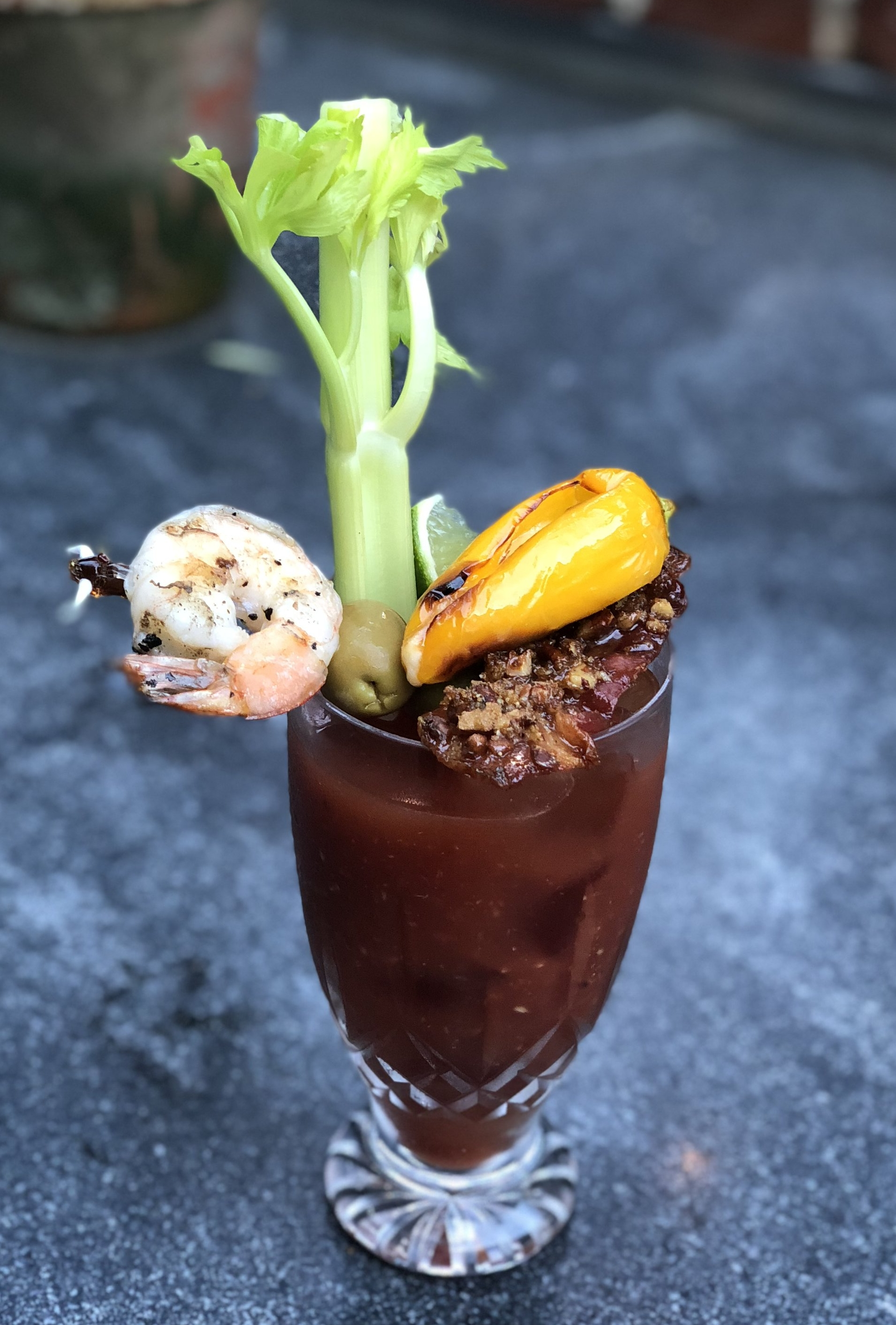 Mary's Bloody Mary is both a spicy cocktail and satisfying appetizer all rolled into on.