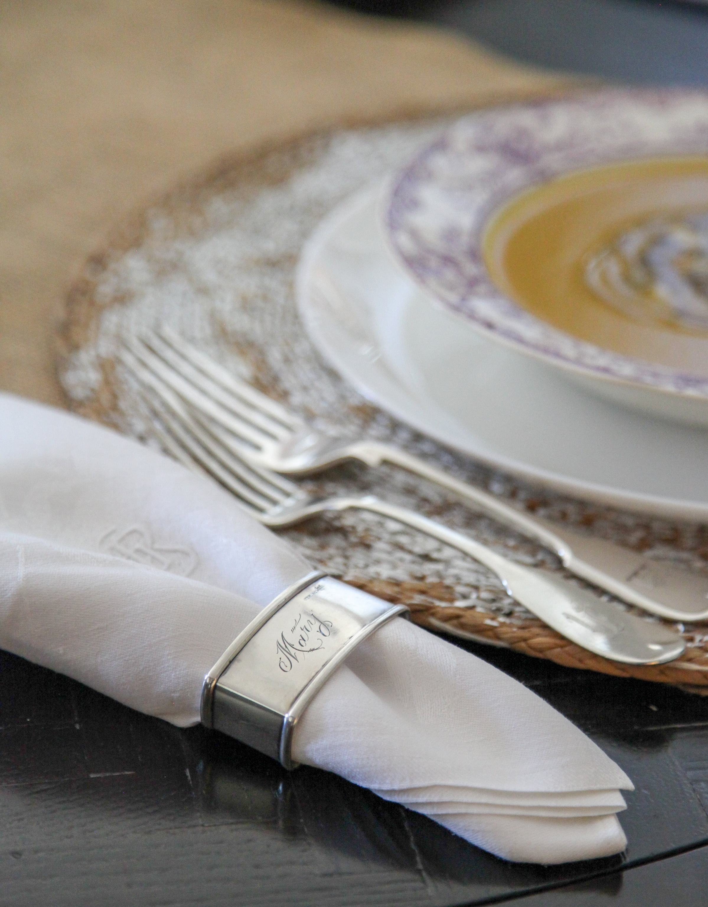 A crisp white linen napkin looks great with any table setting.