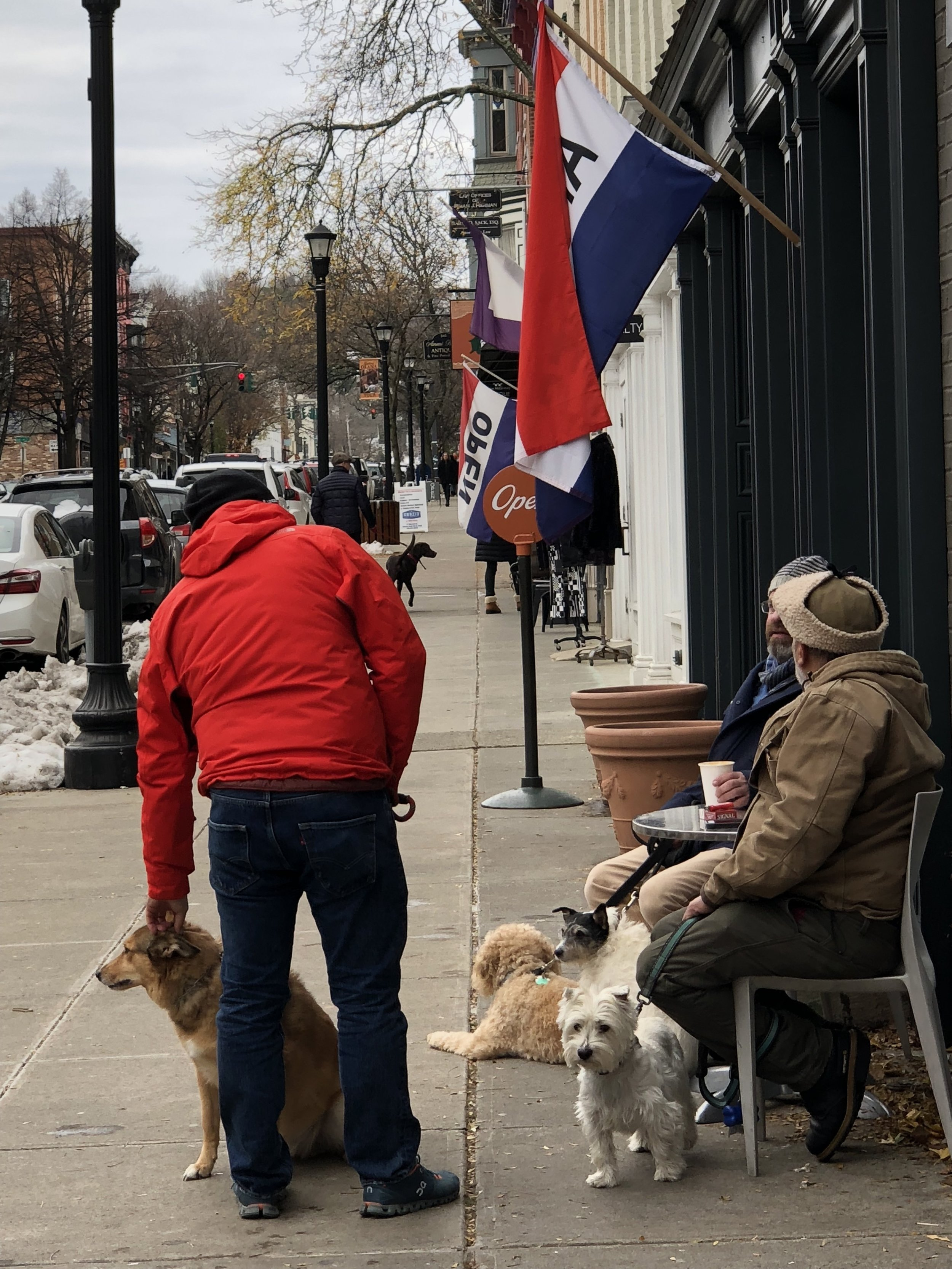 Locals catching up along Warren Street in dog-friendly Hudson.