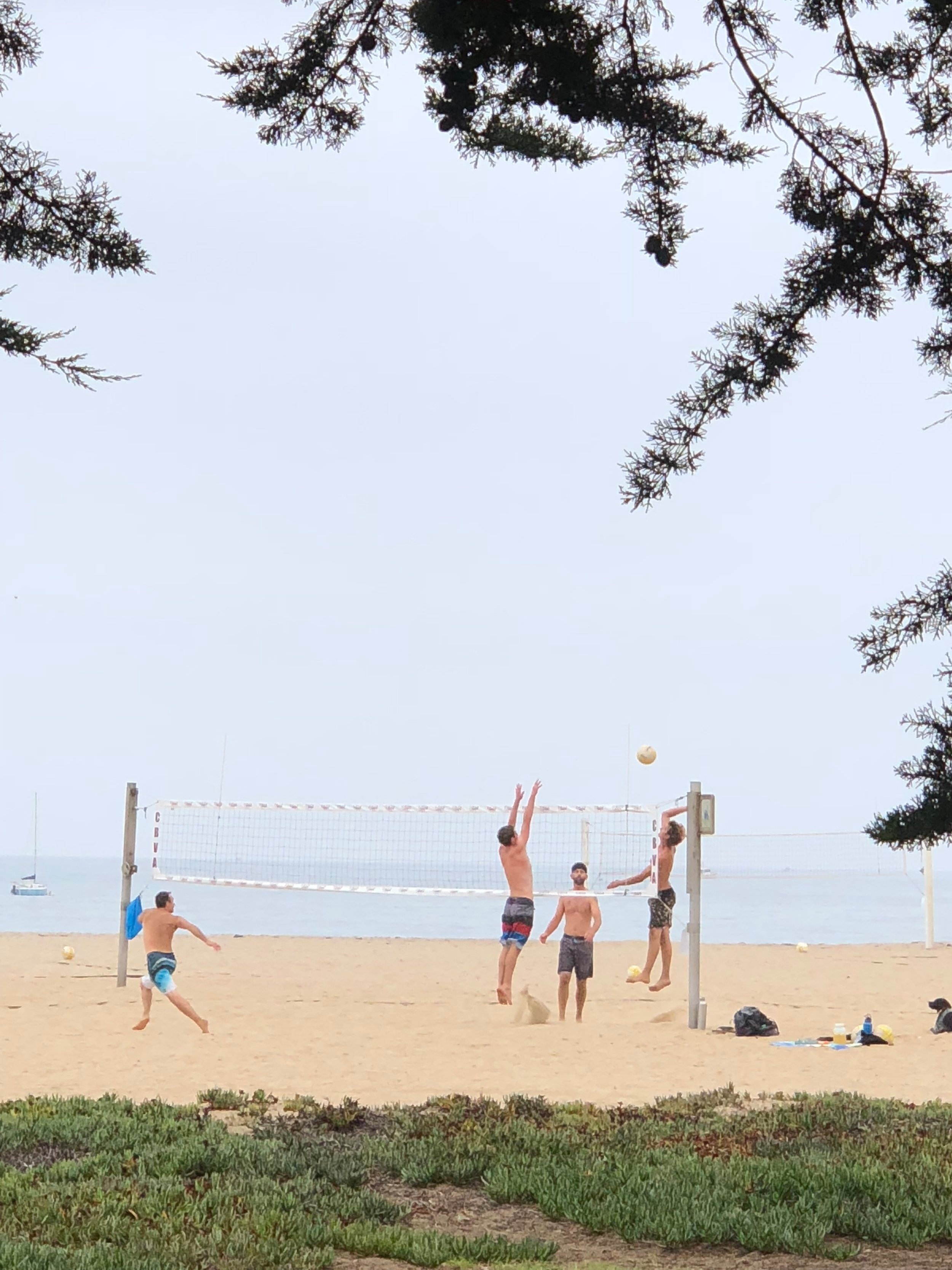 Pick up volleyball games are a weekend standard on East Beach in Santa Barbara.