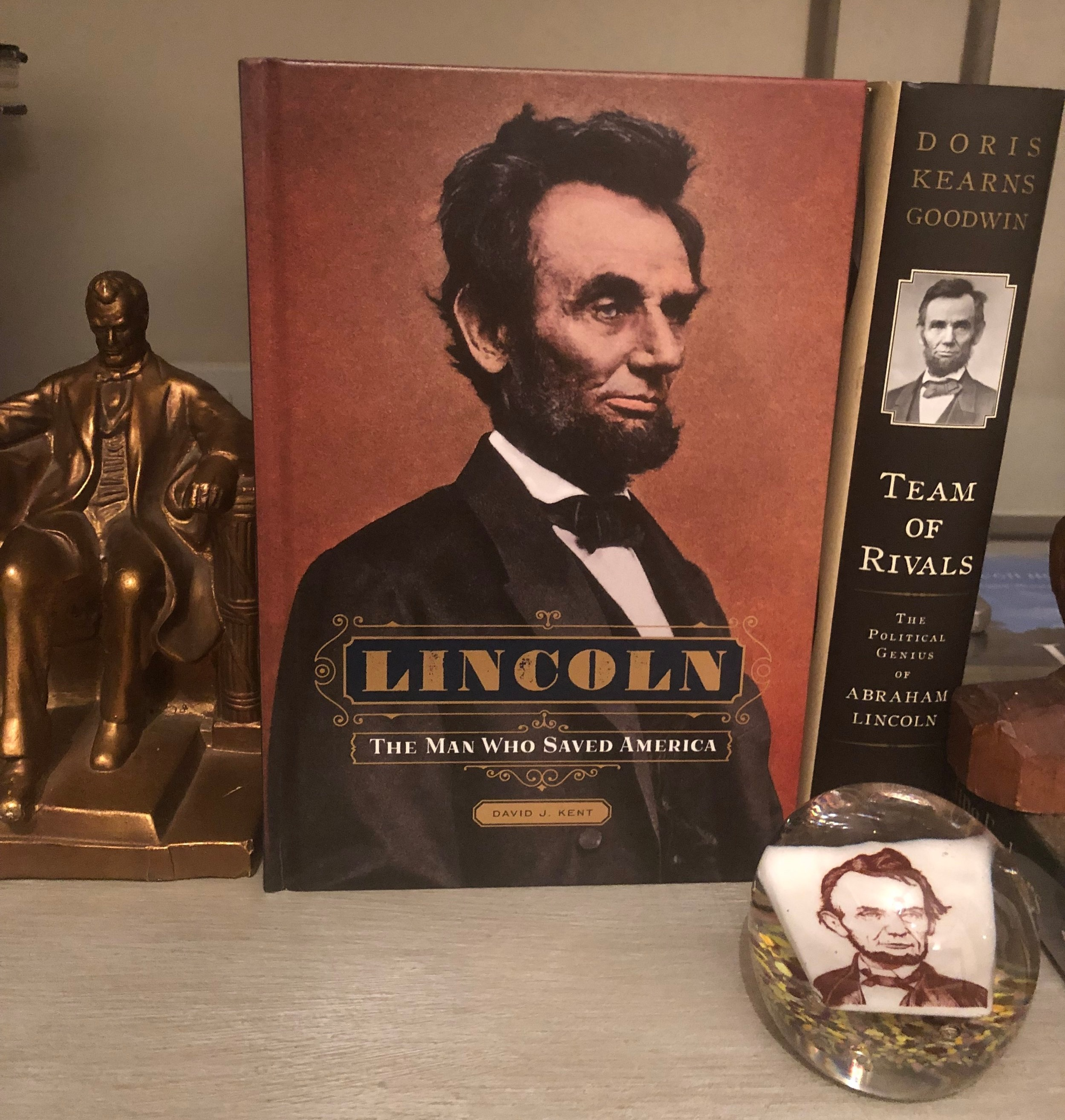 A picture of Abe on the cover of a book is all it takes to make a statement.