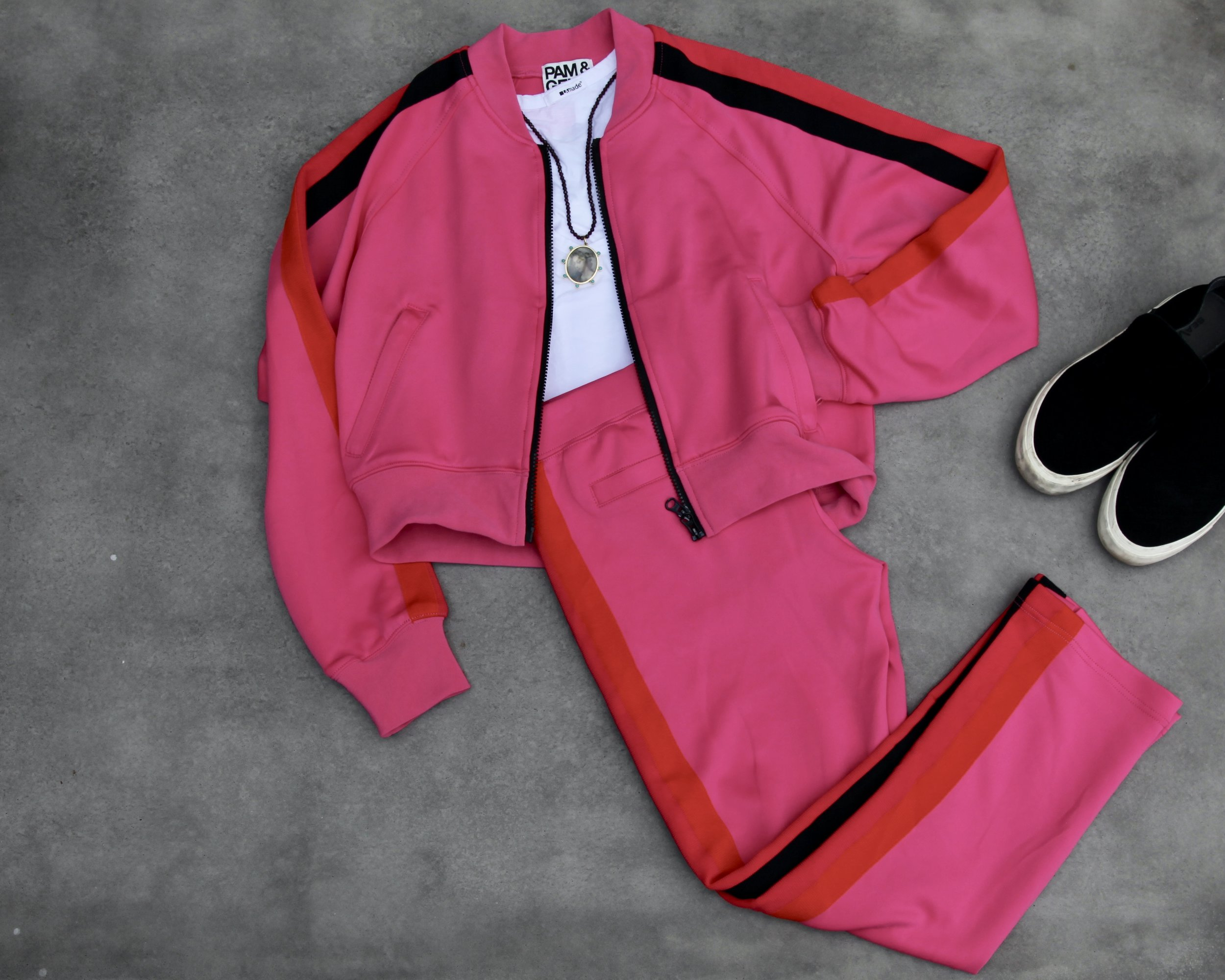 Pam and Gela (of Juicy Couture fame) track set . Match it with  black tennies  and a  white racerback tank .