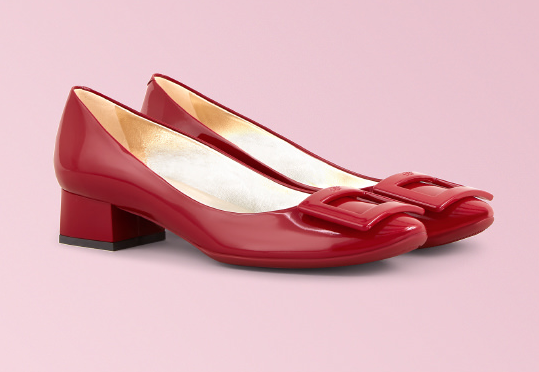 Red on red - it doesn't get any better than this. These  Roger Vivier Belle de Nuit pumps  are so comfortable you can wear them all day. Pair with a black skinny jean/legging and an oversized crisp white cotton blouse.