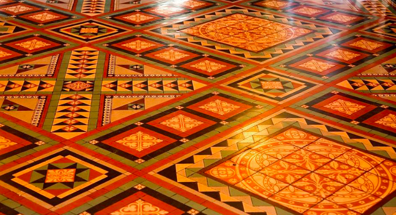 Spanish influence dominates the bright colors and patterns of the tile floors.