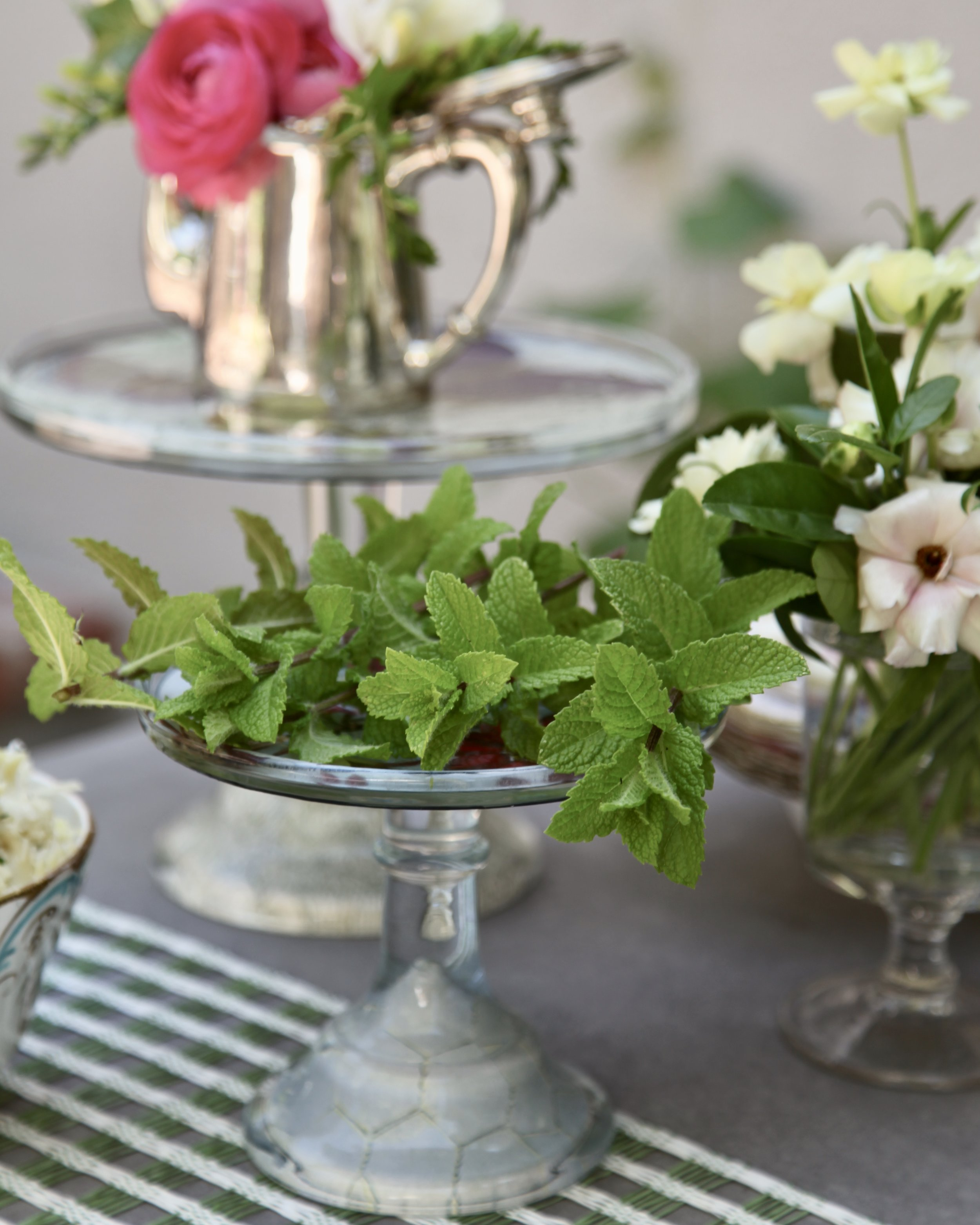 Mint does not wilt easily, so you can simply lay it on a tray or put in water for a longer life.
