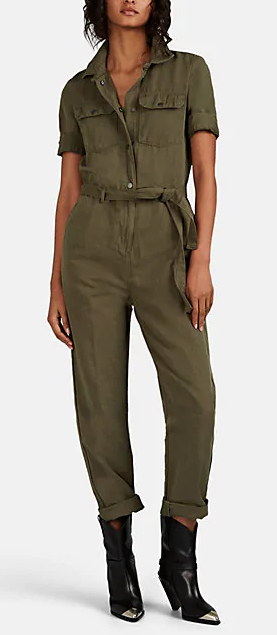 Frame makes a dark khaki jumpsuit that can be dressed up or down - Roll the cuffs, add boots and great chandelier earrings and you've got yourself an outfit for a concert, evening out, sunset???