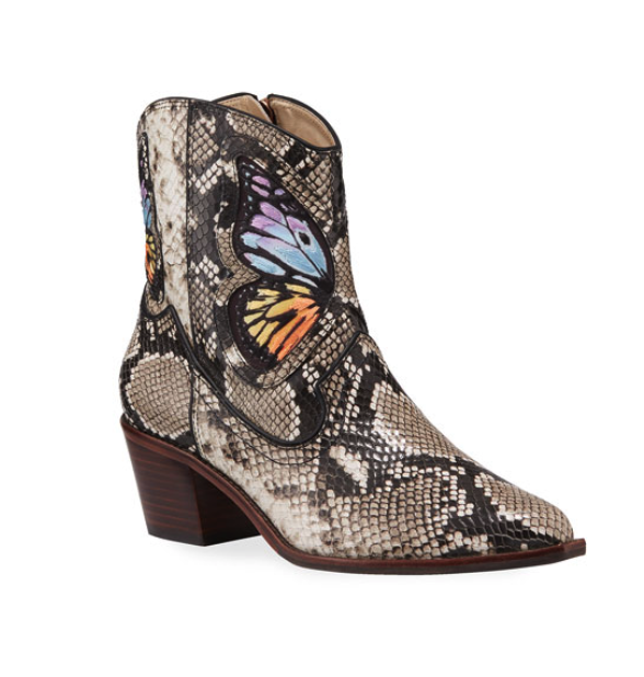 Western meets python… - Sophia Webster adds fun butterflies to these embroidered ankle boots. Your jean outfit never looked better.
