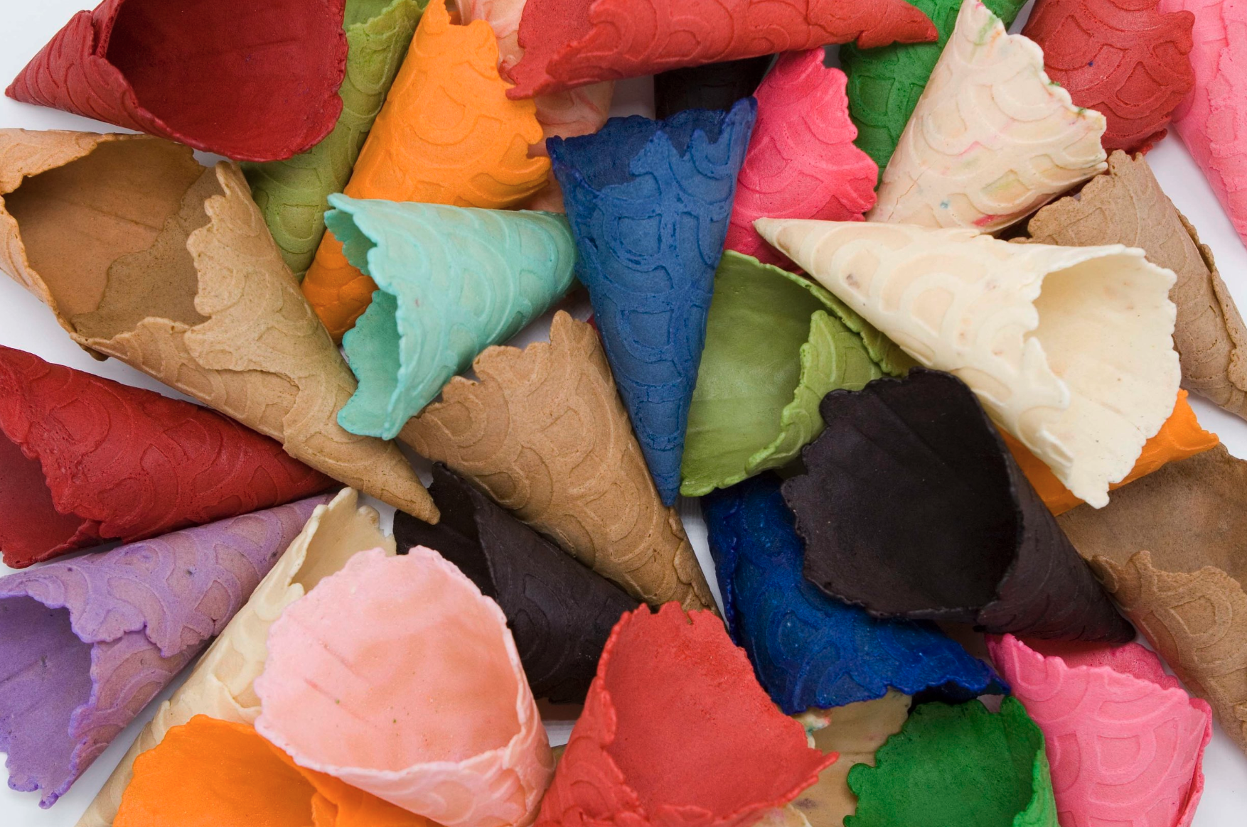 The Koney waffle cones are a virtual palate of rich colors and flavors.