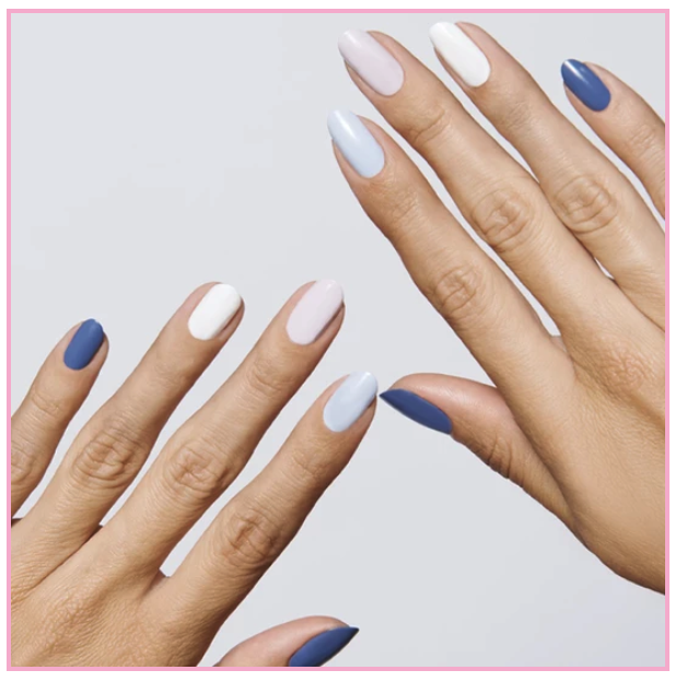 Olive and June sells Mani Kits with ombre in mind. Here is their  Blue Jeans Kits.