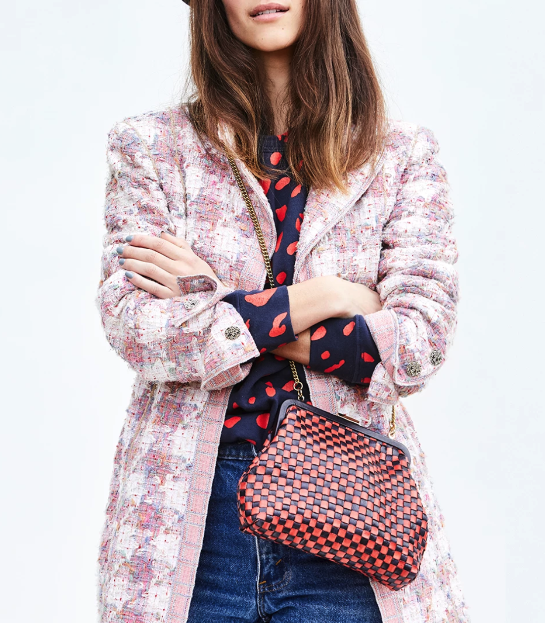 Clare V - The Flore bag in Navy and Red Checker is fun and affordable!