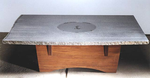 "Fountain Table  - Granite & redwood, 60"" x 42"" x 16"""