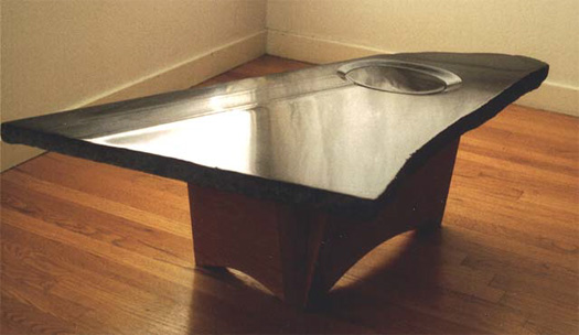 "Water Table  - Granite & mahogany, 34"" x 14"""