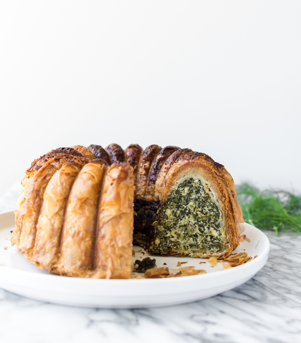 phyllo torte with spinach, feta and dill
