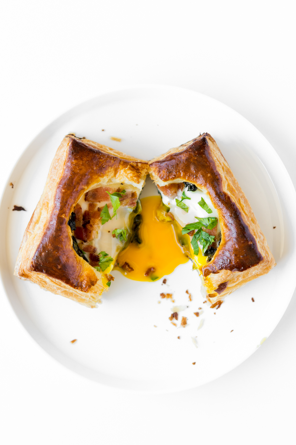 baked egg danish with kale and bacon