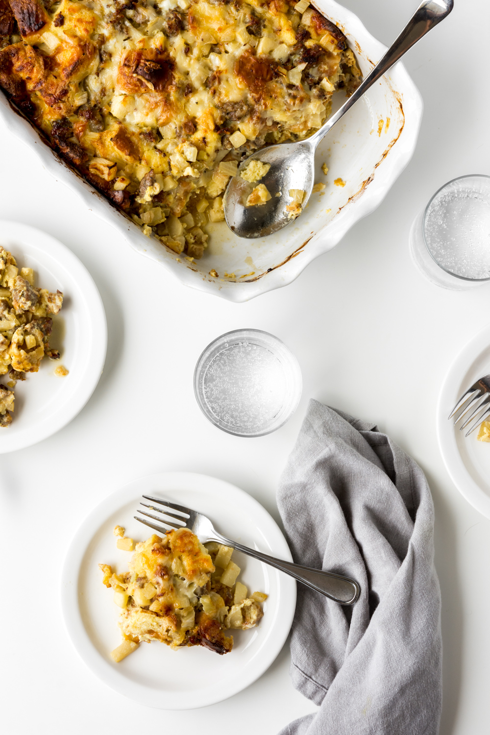 breakfast strata with apples, sausage and fennel